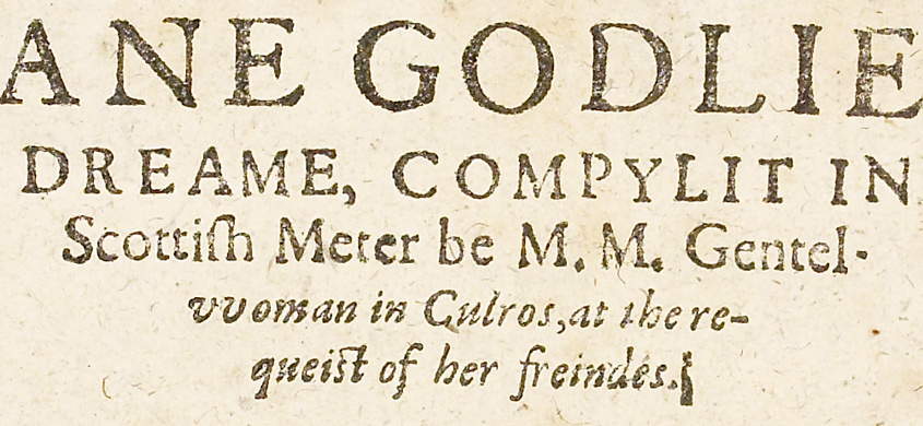 Title page for 'Ane Godlie Dreame'
