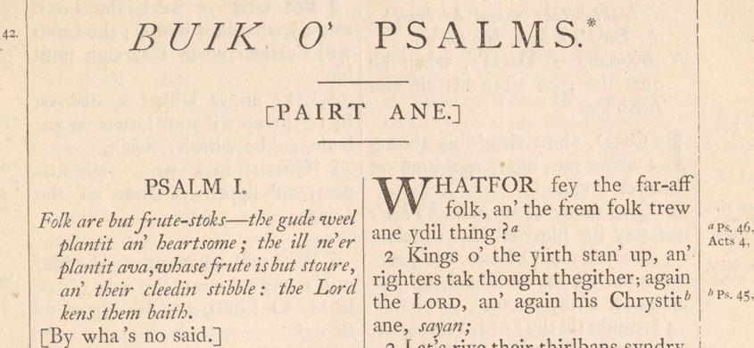 Buik o' Psalms. Pairt Ane.