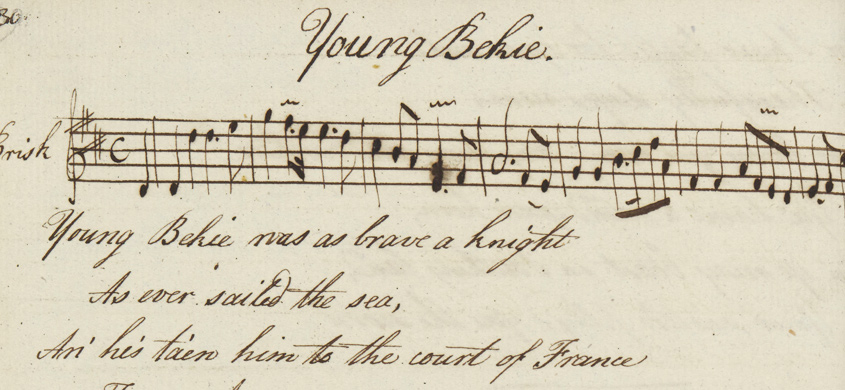 'Young Bekie' from a manuscript collection of Anna Gordon Brown's ballads
