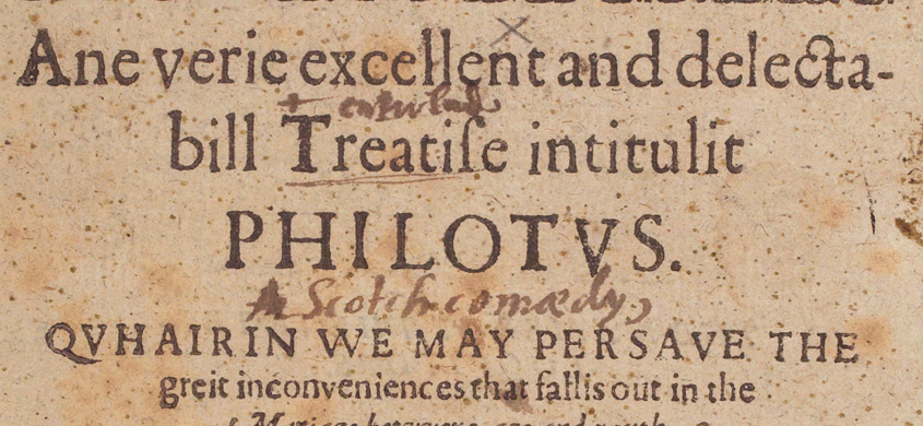 'Philotus' title page from the 1603 edition published in Edinburgh by Robert Charteris.